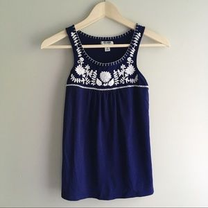 Old Navy Blue White Floral Embroidered Tank